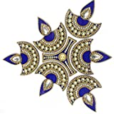 Korporate Kart Brass Rangoli With Crystals - (10 Cup, Blue White)