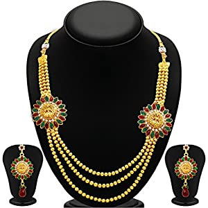 Sukkhi Classy Three Strings Temple Jewellery Gold Plated Necklace Set for Women