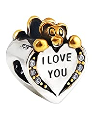 I Love You Teddy Bear Heart Charm Bead - 925 sterling silver - Gift boxed