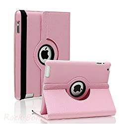 RKA 360 Rotating PU Leather Case Cover For Apple ipad 2 3 and New ipad 4 Light Pink