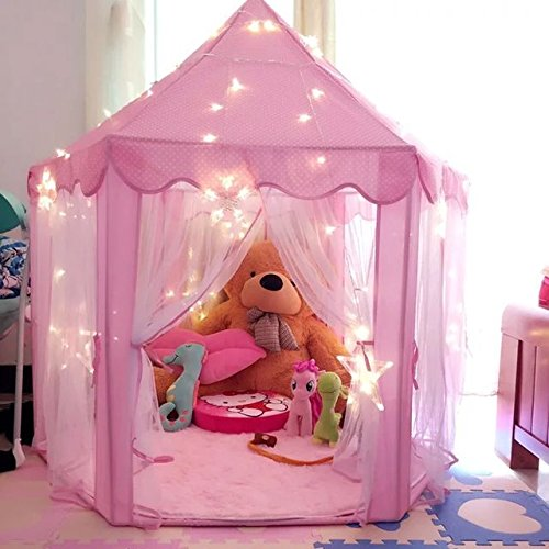 Pink Princess Castle Kids Play Tent Children Playhouse