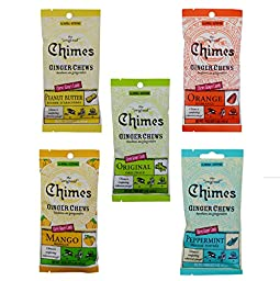 Chimes Ginger Chews Candy 5-Flavor Variety Pack 1.5 Ounce Bags