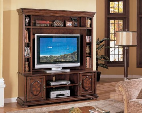 Cheap Entertainment Center Plasma LCD TV Stand – Medium Brown (VF_F4426)