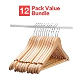 Wooden Suit Hangers - 12 Pack