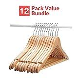 Wooden Suit Hangers - 12 Pack