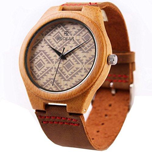 Unisex Natural Watch in legno in pelle orologio unico Textures
