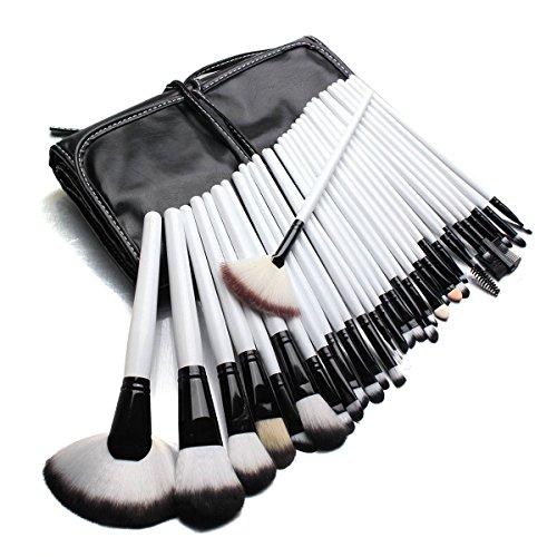 LuckyFine 32Pcs Blanc Pinceaux Brosses de Maquillage Cosmétiques Set Ombre A Paupières Blush Avec Sac Noir Pour Maquillage Professionnel
