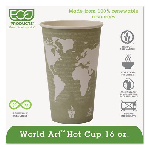Eco-Products World Art Renewable Resource Compostable Hot Cups, 16 oz, Sea Green - Includes 1000 per case.