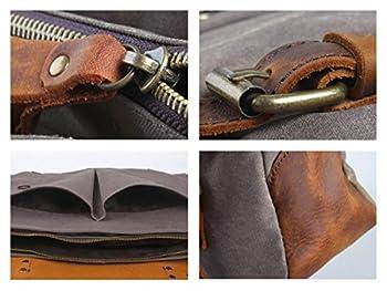 DesertWolf Cotton Canvas Genuine Crazy-horse Leather Cross Body Laptop Messenger Bag - Men Business Vintage Handbag / Briefcase - Fit 15 Inch Laptop 2