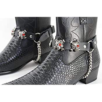 TFJ Men Biker Boot Bracelets Black Leather Straps Silver Skeleton Pirates Skulls Motorcycle Style