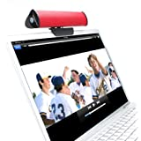 GOgroove Portable USB Laptop Speaker & Stereo Soundbar with 2 Drivers & Removable Table Stand or Clip-On Clamp - Compatible with Apple , Asus , Acer , Dell , Lenovo , Microsoft , Toshiba , Zoostorm Desktop & Laptop Computers - Red