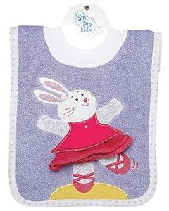 AM PM Kids! Pullover Bib with Washcloth, Ballerina Bunny