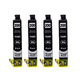 SPEEDTM Compatible Ink Cartridge Replacement for EPSON 200XL (T200XL120) (Black, 4-Pack)