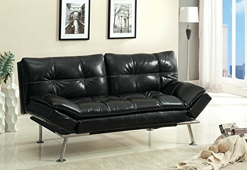 Benik collection contemporary black leatherette upholstery split back and adjustable arm futon sofa bed with chrome legs