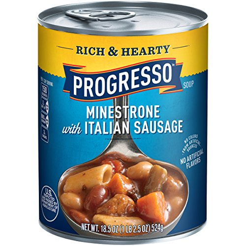 Progresso Soups Rich and Hearty Minestrone with Italian Sausage Soup, 18.5 Ounce (Pack of 12) (Progresso Tomato Parmesan compare prices)