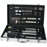 FoxHunter BBQ Grill Cooking Utensils Tool Set Stainless Steel 21 PC Piece With Alloy Case Barbeque Barbecue Cutlery Fork Knife