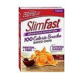 SlimFast Advanced Potato Baked Crisps Snacks, Mesquite BBQ - 1 Ounce Bag, Pack of 5