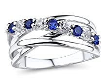 buy Lab Created Blue And White Sapphire Ring In 10K White Gold
