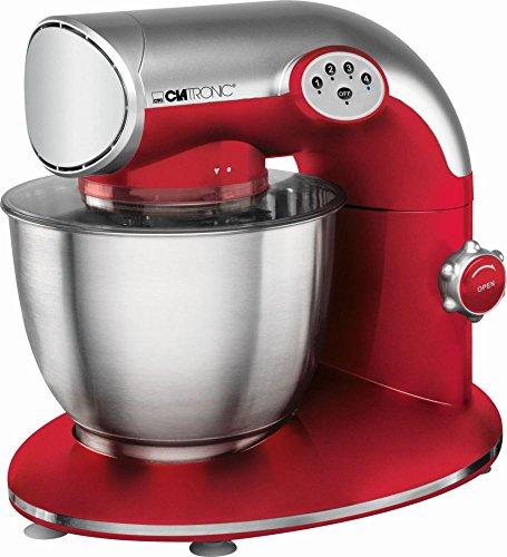 Clatronic Küchenmaschine 1200 Watt mit Edelstahl-Schüssel 5,6 Liter (Knetmaschine, Rührmaschine, Schneebesen, Spritzschutzdeckel, rot)
