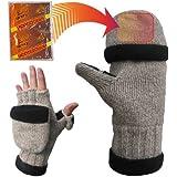 Heat Factory Fleece-Lined Ragg Wool Gloves with Fold Back Pocket for Heat Factory Hand Warmer
