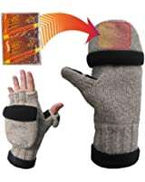 Heat Factory Fleece-Lined Ragg Wool Gloves with Fold Back Pocket for Heat Factory Hand Warmer