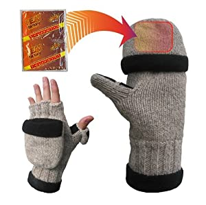 Heat Factory Fleece-Lined Ragg Wool Gloves with Fold Back Pocket for Heat Factory Hand Warmer, Men's