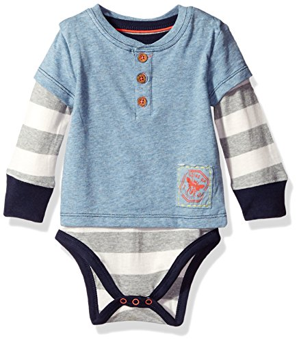 Burt's Bees Baby Boys' Organic Henley 2-Fer Bodysuit, Twilight Heather, 12 Months