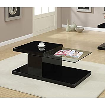 Modern Black Swivel Half Glass Top Coffee Table by Poundex