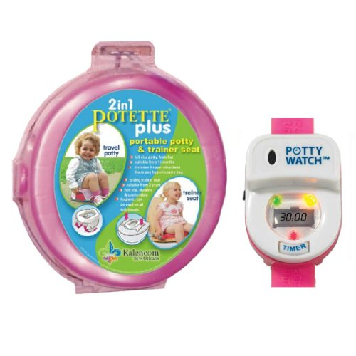 Kalencom Potette Plus Portable Potty Training Seat with Potty Watch Training Timer, Pink/Pink