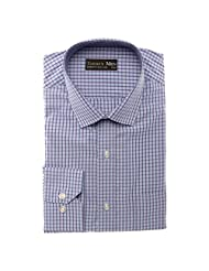 Today's Men Men's Formal Shirt Double Fused Collar ( Blue ) - B00RYVO05E