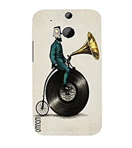 Omnam Man Sitting On Old Music Cd With Beard Designer Printed Back Cover Case For HTC One M8