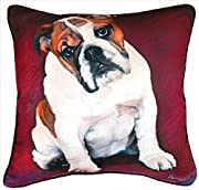 Manual Woodworkers & Weavers Bulldog Baby Paws and Whiskers Decorative Square Pillow, 18-Inch