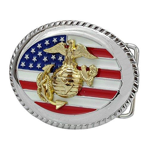 Buckle Rage Adult Unisex American Flag Gold Marine Corps Eagle Globe Belt Buckle