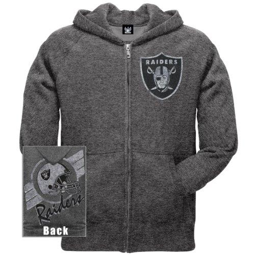 Old Glory Mens Oakland Raiders - Vintage Logo Overdye Zip Hoodie - Small Grey