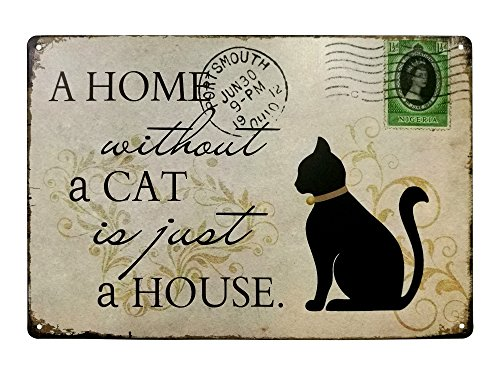 VASTING ART Decorative Signs Tin Metal Iron Sign Painting Cat For Wall Home Office Bar Coffee Shop