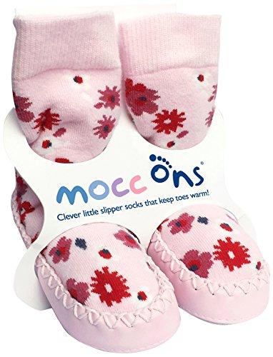 Mocc Ons - Pantofole per bebè, con motivo floreale, Multicolore (Floral Ditsy), 12-18 mesi
