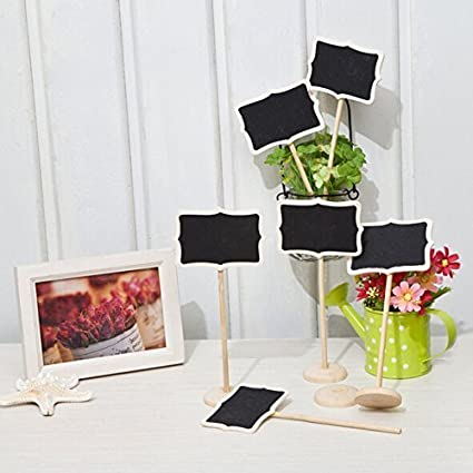 12 Mini Retangle Chalkboard Blackboard with Stand Wedding Party Table Numbers Place Card Favor Tag Plant Marker