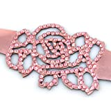 Pink Ice Rose Crystal On Faux Suede Band Bracelet With Button Clasp