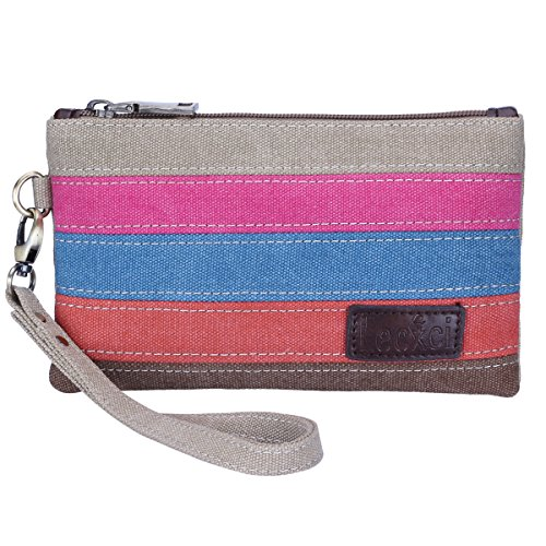Lecxci Practical Canvas Clutch Smartphone Bag, Zipper Wristlets [Credit Card Slots] [Coin Change Wallet Purse] with Wrist Strap for iPhone 7 7 Plus 6 6S Plus / Galaxy S7 S6 Edge Plus (Color-Strap)