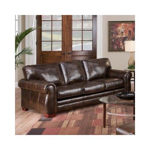 TOBACCO BONDED LEATHER Asmara Bonded Leather Queen Sleeper Sofa