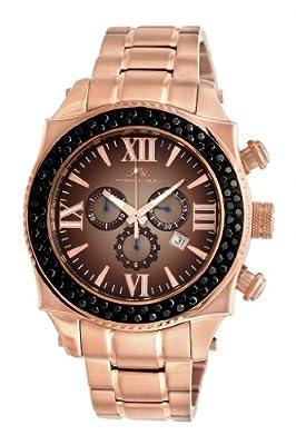 Porsamo Bleu Milan G Noir Stainless Steel Rose Tone, Brown & Black Men's Diamond Watch 073DMIS
