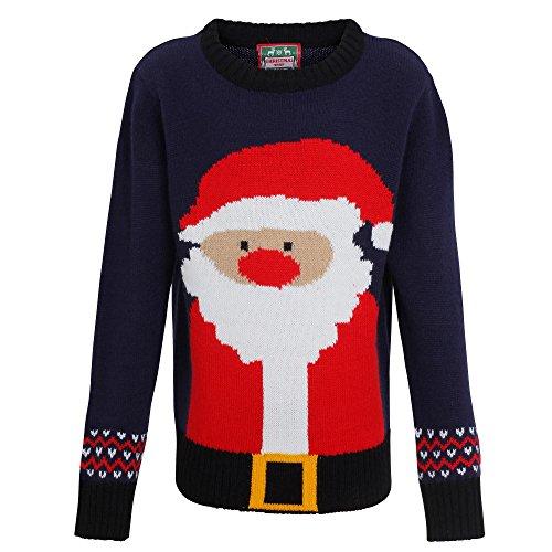 Christmas Shop - Maglione natalizio con Babbo Natale - Bambini (7-8 anni) (Blu/Rosso)
