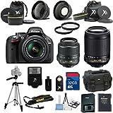 Nikon D5200 Black Camera with Nikon 18-55mm VR Lens Als Variety Premium Bundle + Nikon 55-200mm VR Lens+ Gadget Bag + 2pc Filter Kit + 32GB Bandwidth Memory Card + 15pc Accessory Bundle Kit