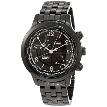 b7a8860fa50f Timex Men s T2N614 Intelligent Quartz Traveller Series World Time Black IP  Stainless Steel Bracelet Watch