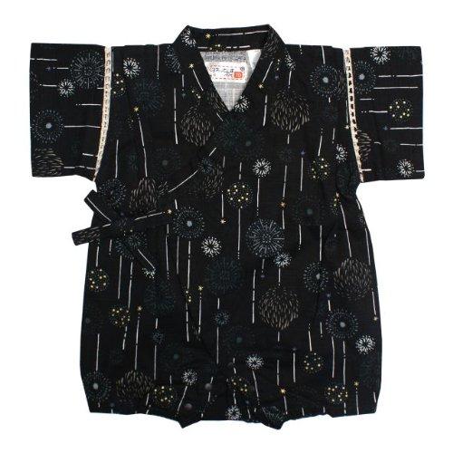 甚平 ロンパース ベビー 男の子 綿100% 日本製生地 花火 和柄 じんべい ロンパース 甚平 ブラック 70cm