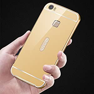 Droit Luxury Metal Bumper + Acrylic Mirror Back Cover Case for Vivo V3Max By Droit Store + Flexible Portable Thumb OK Stand by Droit Store.