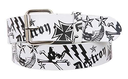 Snap On Pirate and Cross Bone White Pebble Print Leather Belt - Interchangeable