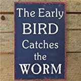 Metal Sign Early Bird Catches The Worm - 20 X 30 Navy Wall Signby Carousel Home
