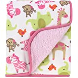 Carter's Printed Velour Sherpa Blanket, Pink Zebra Safari (Discontinued by Manufacturer)