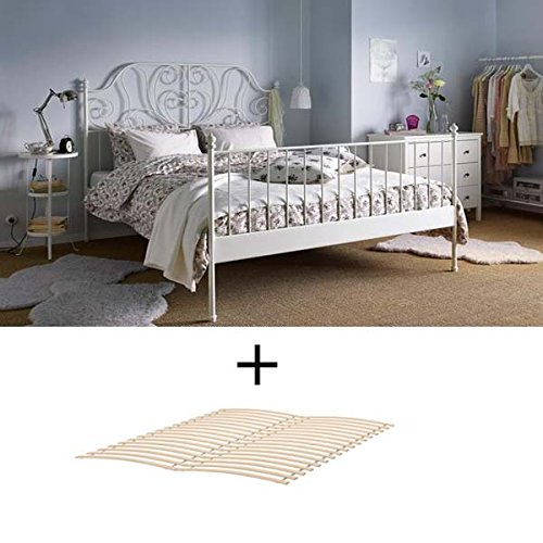 Ikea Full Size Metal Country Style Bed Frame with Slatted Base , White (Slatted Bed Frame Full compare prices)